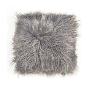 Sivý obojstranný kožušinový vankúš s dlhým vlasom, 45x45cm