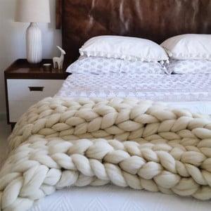 Béžová ručne tkaná deka z merino vlny Concepttual Chunky, 125 x 130 cm