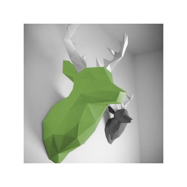 Papierová trofej Jeleň XL, zeleno-biely