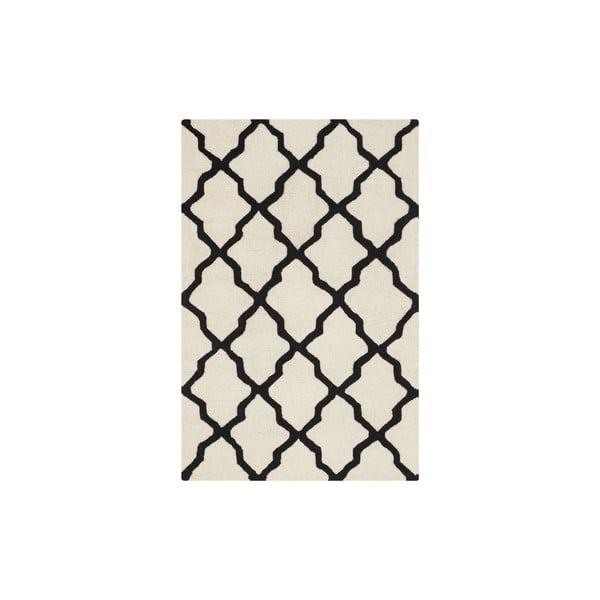 Vlnený koberec Ava 121x182 cm, biely/čierny