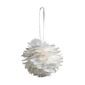 Sada 6 bielych závesných dekorácií z peria Côté Table Hanging Ball Feather, 12 cm