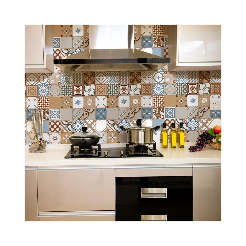 Sada 30 nástenných samolepiek Ambiance Wall Stickers Cement Tiles Azulejos Estefania, 10 × 10 cm