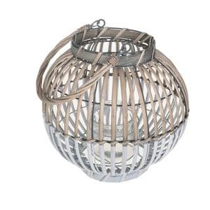 Guľatý lampáš z prírodného materiálu Dino Bianchi, ⌀ 25 cm