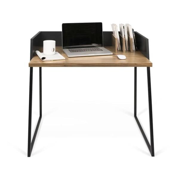 Čierny pracovný stôl TemaHome Volga Walnut