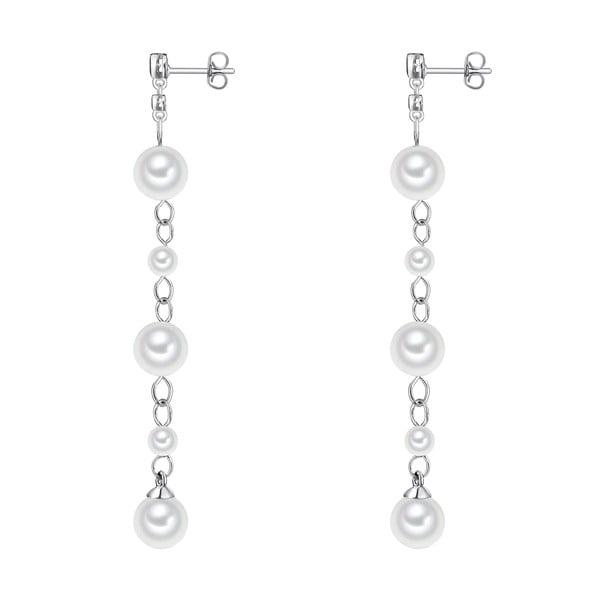 Biele perlové náušnice Pearls Of London Shell
