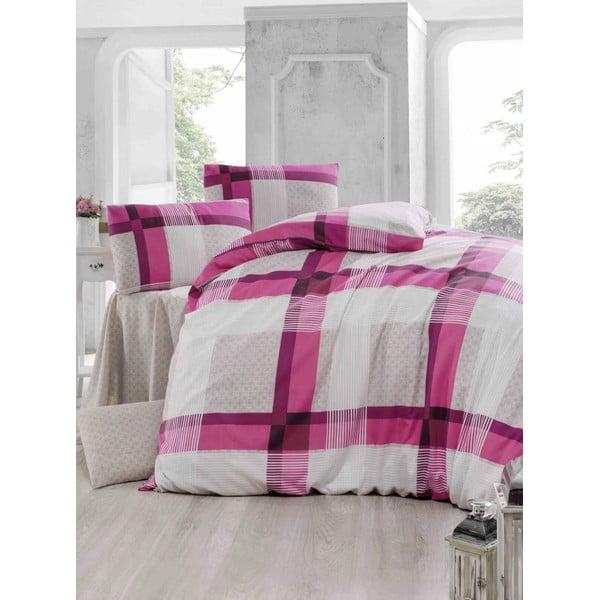 Obliečky s plachtou Karo Pink, 200x220 cm