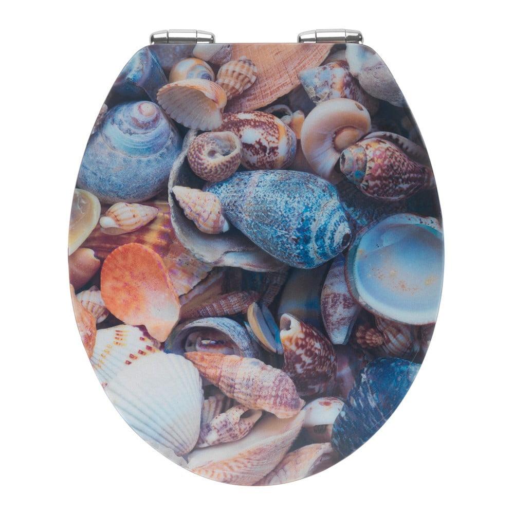 WC sedadlo s 3D obrázkom a jednoduchým zatváraním Wenko Sea Shell, 44,5 x 38 cm