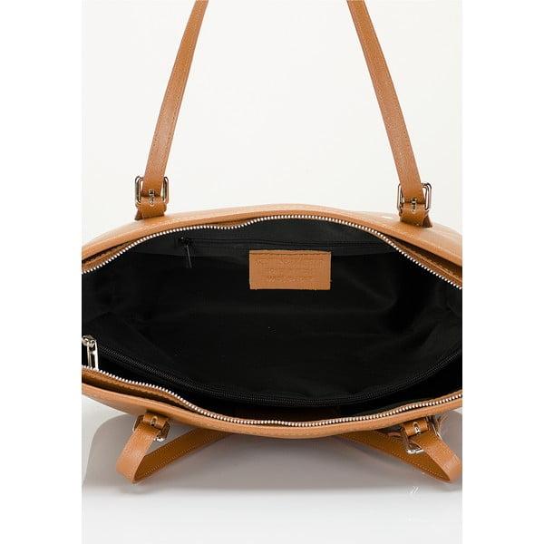 Koňakovohnedá kožená kabelka Lisa Minardi Arianna