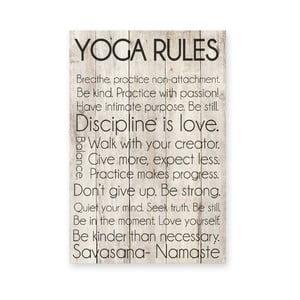 Drevená ceduľa Yoga Rules