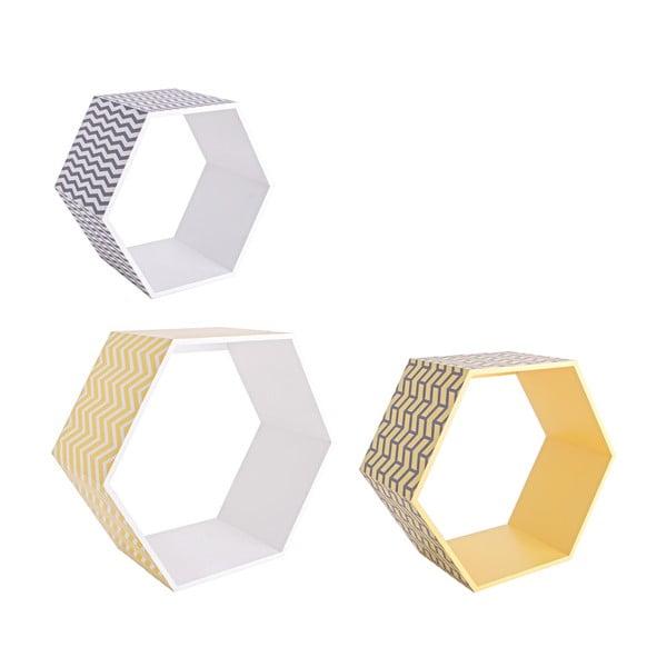 Sada 3 nástenných poličiek Hexagon