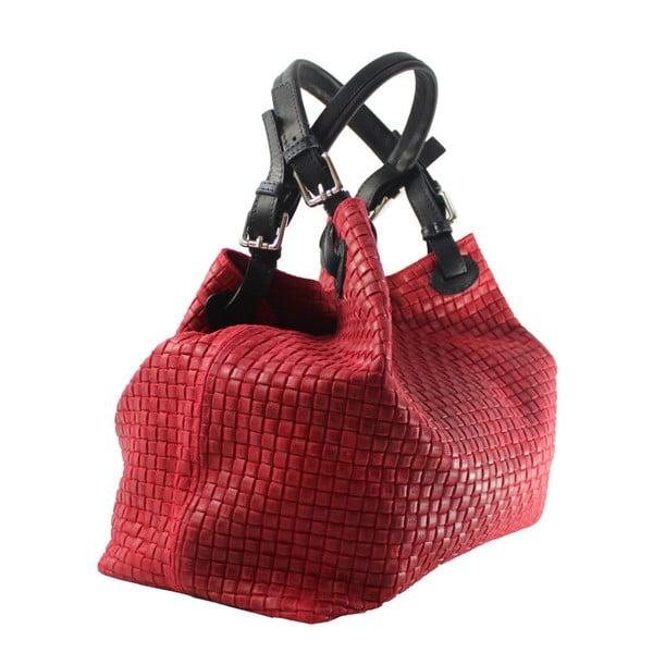 Červená kožená kabelka Chicca Borse Tessa