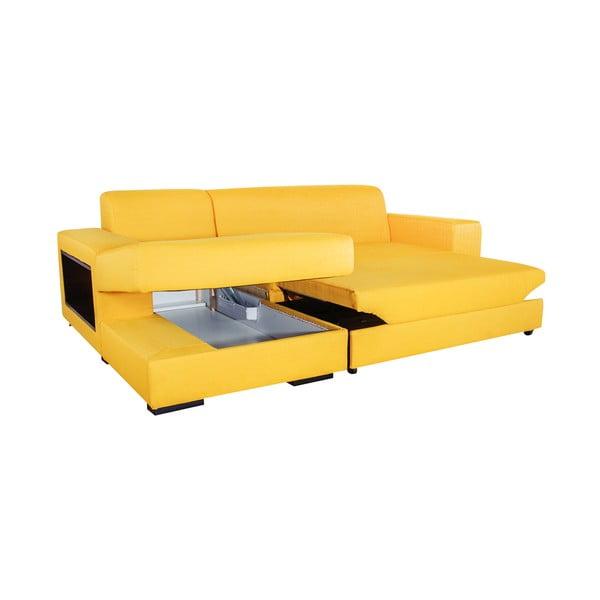 Rozkladacia pohovka A-Maze s úložným priestorom 245 cm, žltá, ľavá strana