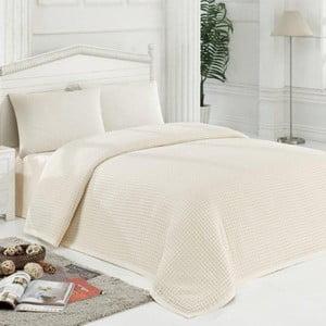 Sada prikrývky na posteľ, plachty a dvoch obliečok na vankúš Newnisan Cream, 200x235 cm