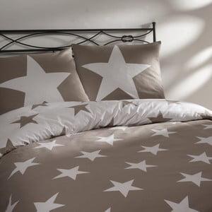 Béžové bavlnené obliečky na dvojposteľ Ekkelboom Stars, 240 x 200 cm