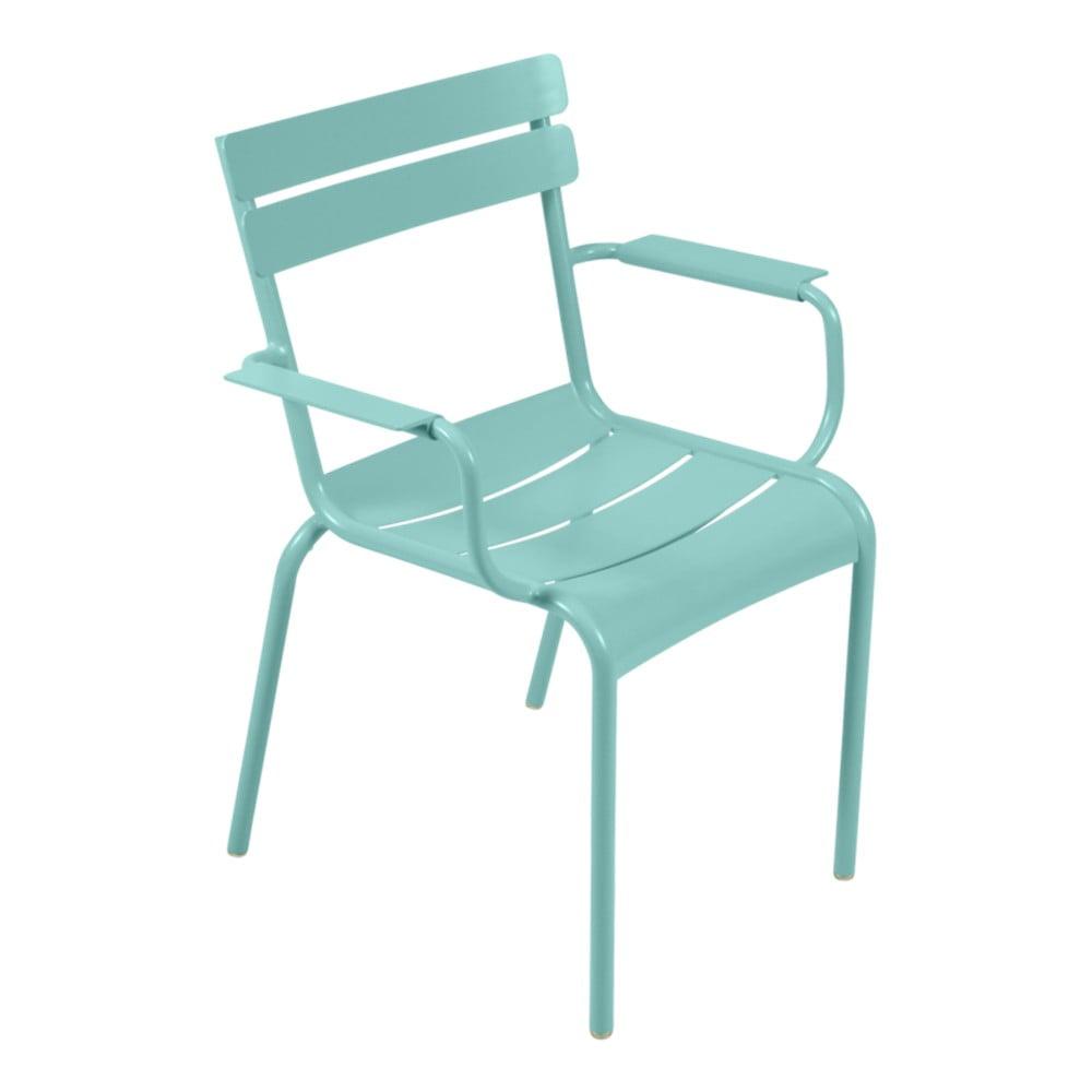 Modrá záhradná stolička s opierkami Fermob Luxembourg