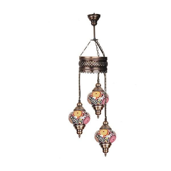 Sklenená ručne vyrobená závesná lampa Three Reiki, ⌀ 13 cm
