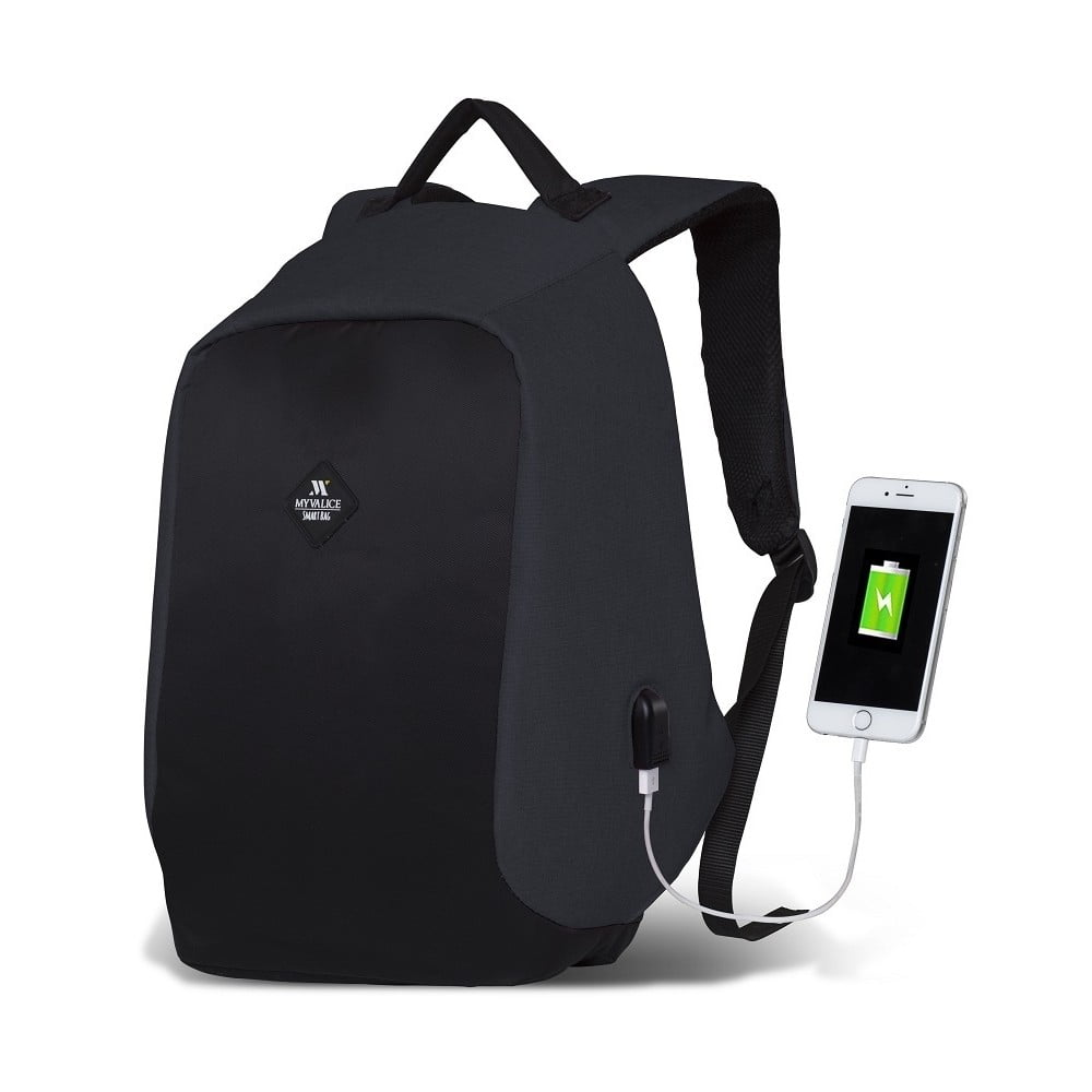 Tmavosivo-čierny batoh s USB portom My Valice SECRET Smart Bag