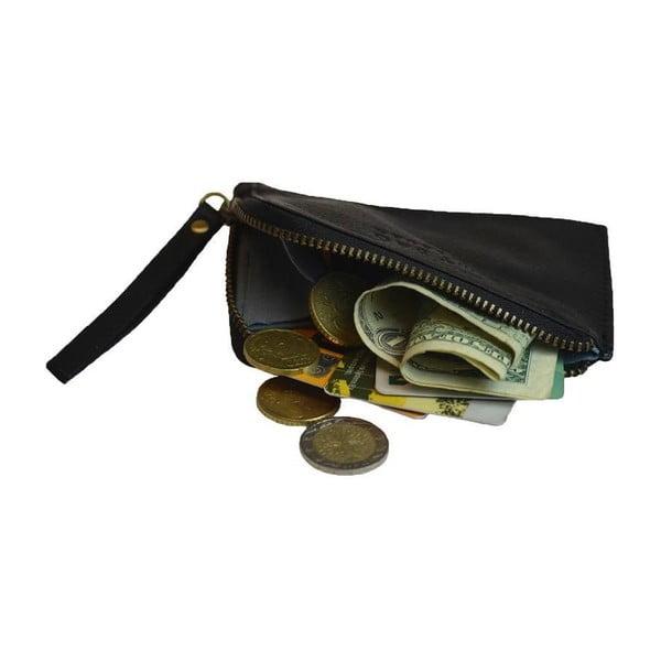 Čierna kožená peňaženka na drobné Coin Purse