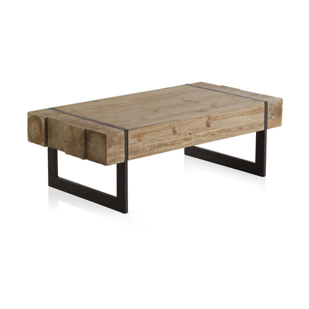Drevený konferenčný stolík s kovovými nohami Geese Robust, 120 x 60 cm