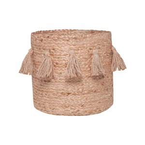 Ružový úložný košík z konopného vlákna Nattiot, Ø30 cm