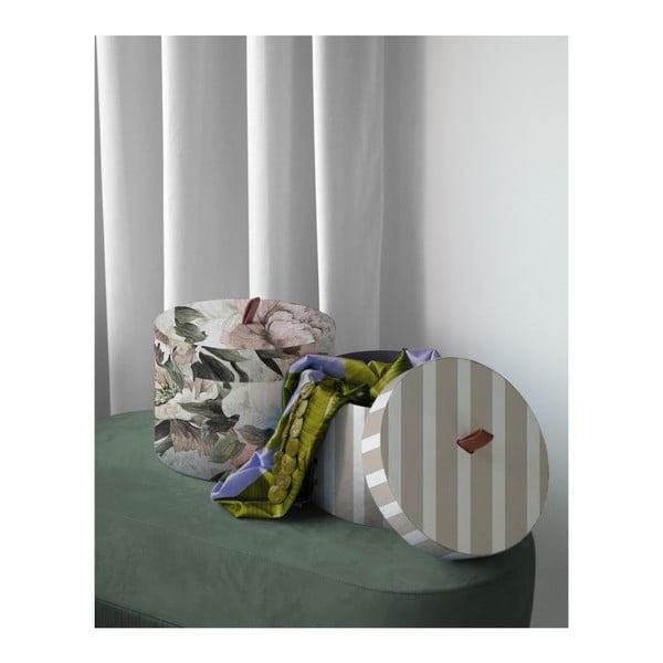 Sada 2 okrúhlych úložných boxov zo zamatu Velvet Atelier Lili