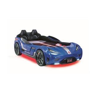 Modrá detská posteľ v tvare auta s červeným osvetlením Fast GTS Carbed Blue