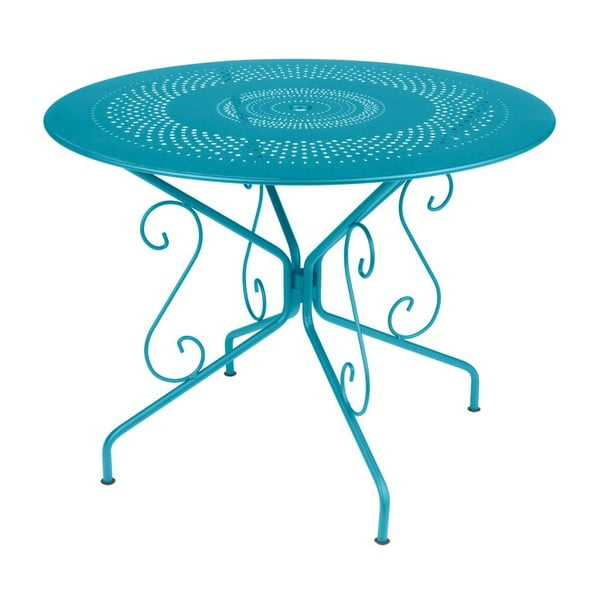 Tyrkysový kovový stôl Fermob Montmartre, Ø96cm