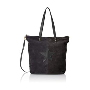 Čierna kožená kabelka Chicca Borse Asterisco