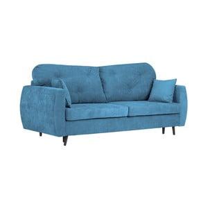Modrá trojmiestna rozkladacia pohovka s úložným priestorom Kooko Home Bluzz