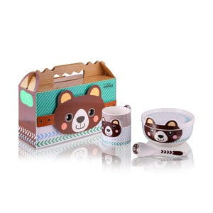 Detský raňajkový set z kostného porcelánu Silly Design Teddy