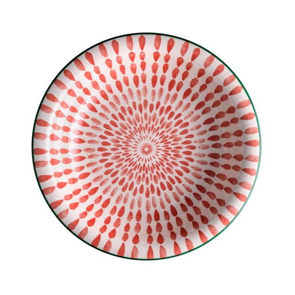 Červený polievkový tanier z dolomitu Brandani Ginger, ⌀21 cm