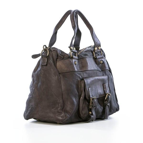 Sivá kožená kabelka Federica Bassi Vela