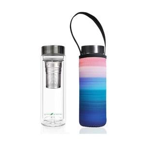 Cestovná termofľaša z borosilikátového skla s obalom a sitkom BBBYO Peace, 500 ml
