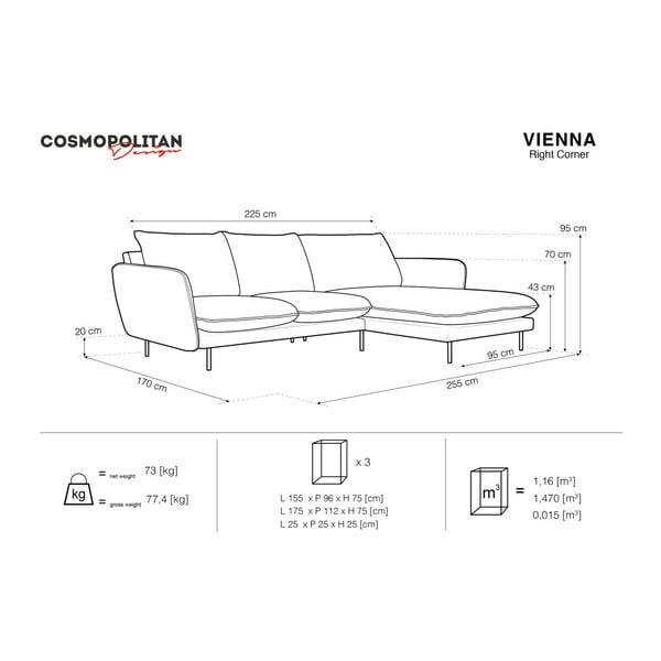 Tmavosivá rohová pohovka Cosmopolitan Design Vienna, pravý roh