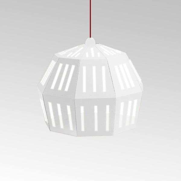 Kartónové svietidlo Uno Fantasia C White, s červeným káblom