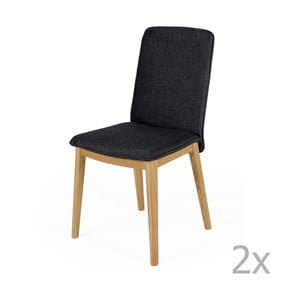 Sada 2 jedálenských stoličiek s podnožou z dubového dreva Woodman Adra Dark Lighter Half