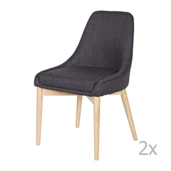 Sada 2 drevených sivých stoličiek Kobe Dark Grey