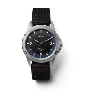 Dámske hodinky s čiernym koženým remienkom Triwa Raven Skala