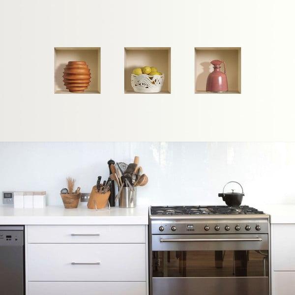 3D samolepky na stenu Nisha Campagnes, 3 ks