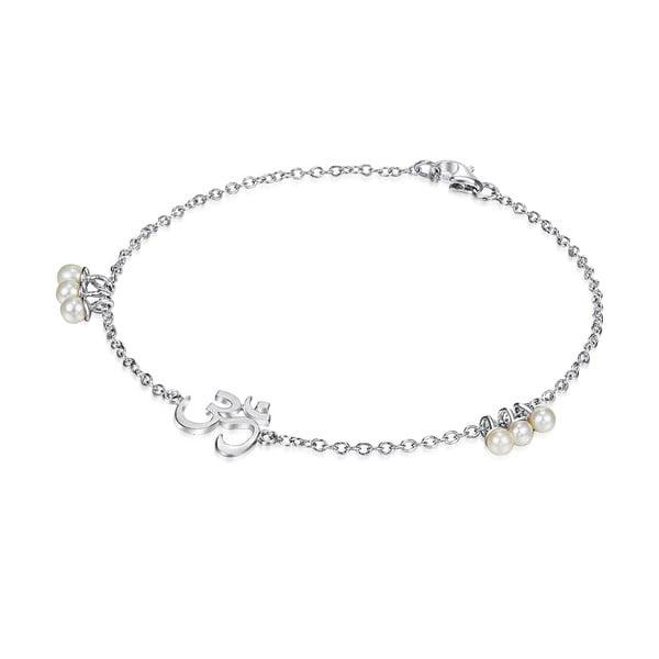 Strieborný náramok s perlami a príveskom Chakra Pearls Om, 17 cm