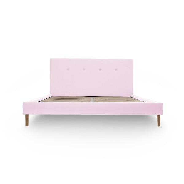 Pastelovoružová posteľ VIVONITA Kent 140x200cm, prírodné nohy