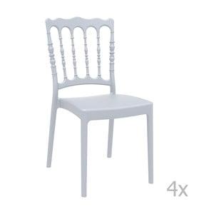 Sada 4 sivých záhradných stoličiek Resol Napoleon