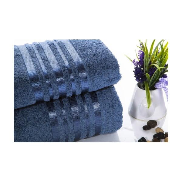 Set modrej bavlnenej osušky a uteráku Ladik Eleanor