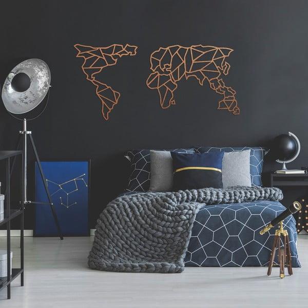 Kovová nástenná dekorácia v medenej farbe Geometric World Map, 120×58 cm