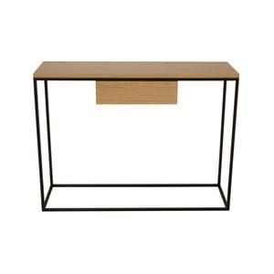 Čierny konzolový stolík s doskou z dubového dreva Take Me HOME Radom, 100×30cm