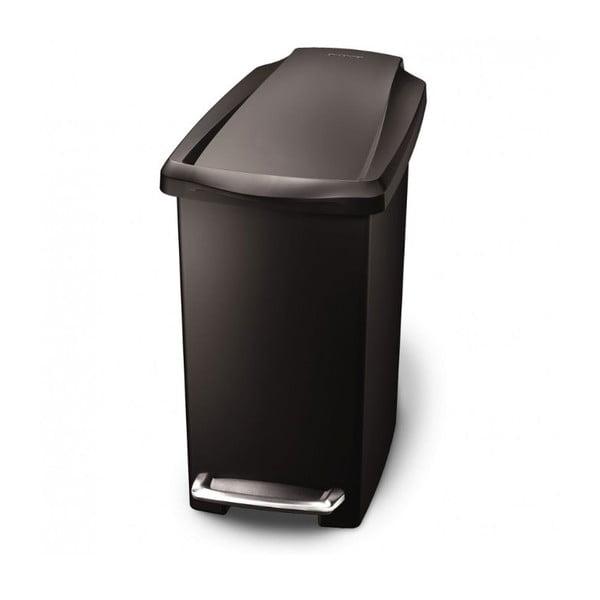Čierny pedálový kôš na odpadky simplehuman Gigi, 10 l