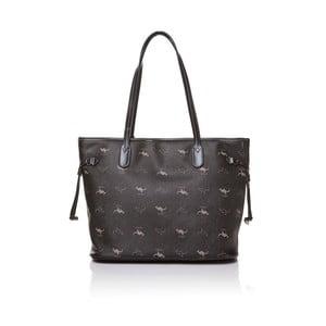 Kožená kabelka cez rameno Canguru Shopper, čierna