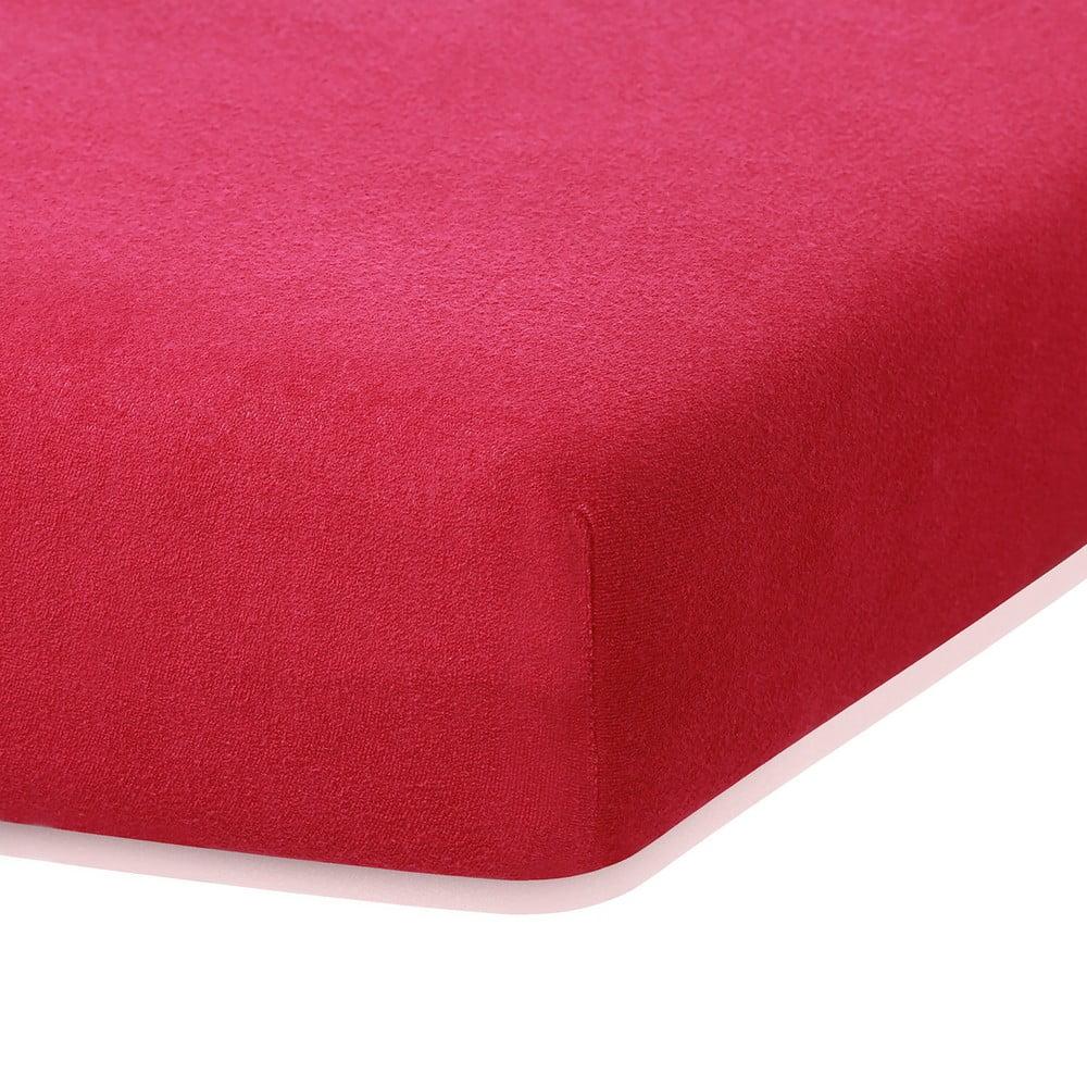Bordó Červená elastická plachta s vysokým podielom bavlny AmeliaHome Ruby, 200 x 160-180 cm