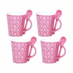 Sada 4 šálok s lyžičkami Pink Mugs