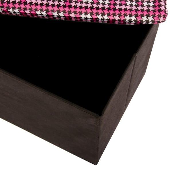 Veľká úložná krabica Puff Black, 64x38 cm